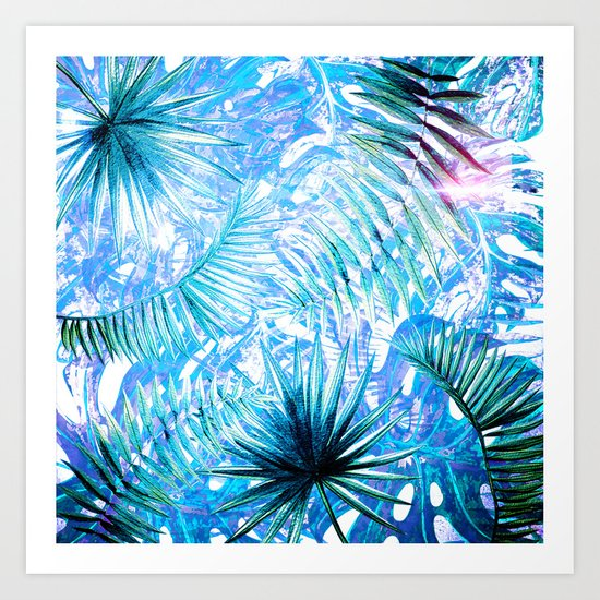Aloha- Blue abstract Tropical Palm Leaves and Monstera Leaf Garden Art Print