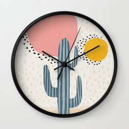 Cacti Desert, Mid century modern kids wall art, Nursery room Wall Clock