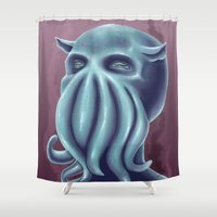 cuddle Shower Curtains featuring Cuddle-thulhu  by Shay Horne