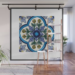Talavera Mexican tile inspired bold design in blues, greens, and yellows Wall Mural