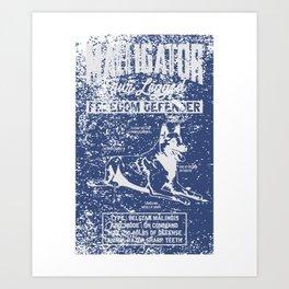 Maligator Freedom Belgian Malinois T-shirt Art Print