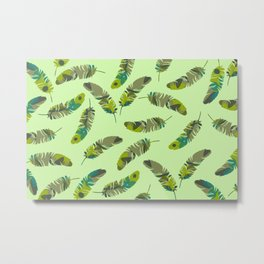 Tropical Feathers pattern design green Metal Print