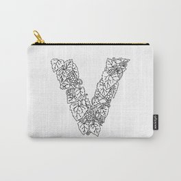 Floral Type - Letter V Carry-All Pouch