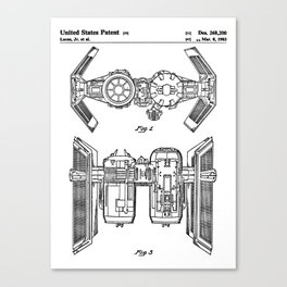Starwars Tie Bomber Patent - Tie Bomber Art - Black And White Canvas Print