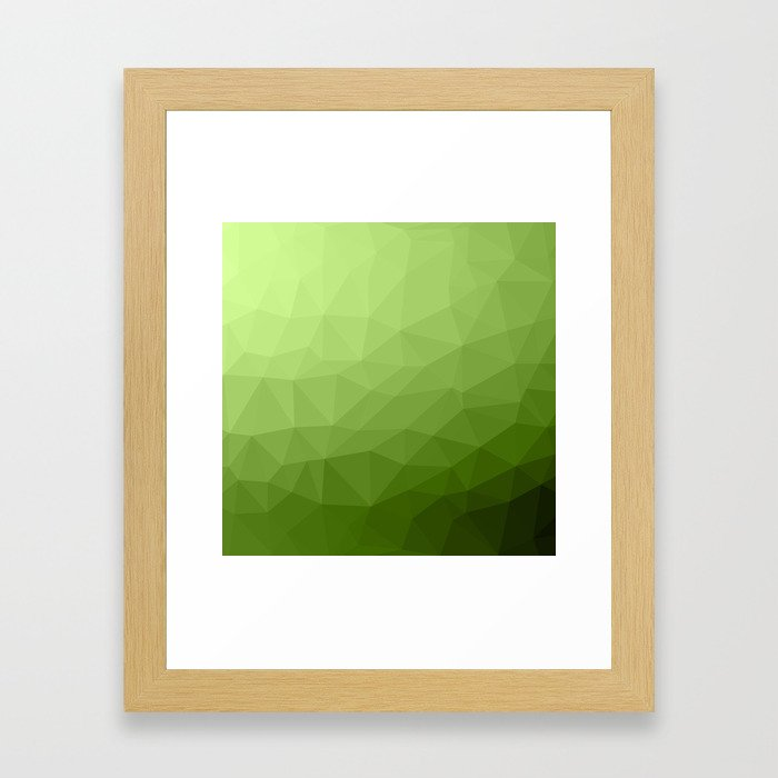 Greenery ombre gradient geometric mesh Framed Art Print