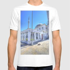 Istanbul Mosque Cat White Mens Fitted Tee MEDIUM