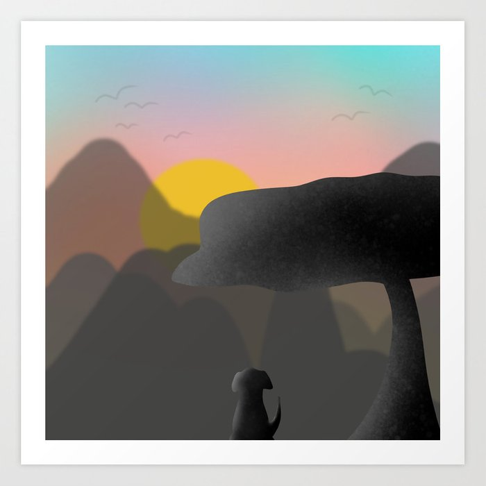 Dog and the Mountain View Art Print