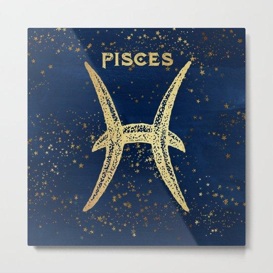 Pisces Zodiac Sign Metal Print