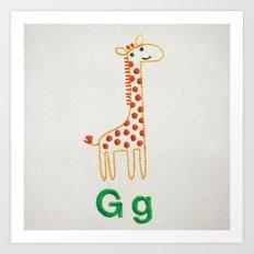 G Giraffe Art Print