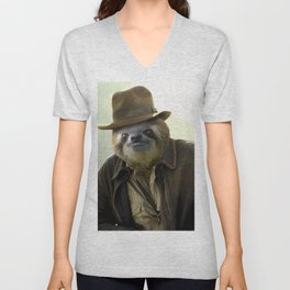 Archeologist Sloth Unisex V-Neck