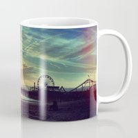 santa monica Mugs featuring Santa Monica Sunset by Michali's Studio