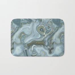 Precious Teal Blue Gemstone Agate Collage Bath Mat