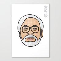 hayao miyazaki Canvas Prints featuring Hayao Miyazaki Portrait - White by Cedric S Touati