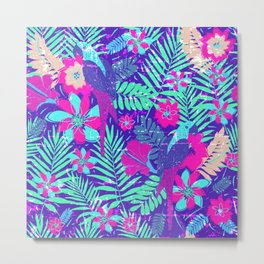 Tropical Paradise Pattern Print with Parrots Metal Print