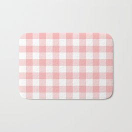 Coral Checker Gingham Plaid Bath Mat