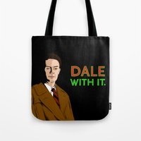 dale cooper Tote Bags featuring DALE WITH IT. by Chris Piascik