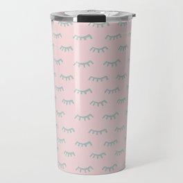 Small Pink Sleeping Eyes Of Wisdom - Pattern - Mix & Match With Simplicity Of Life Travel Mug