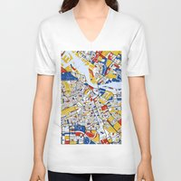 mondrian V-neck T-shirts featuring Amsterdam Mondrian by Mondrian Maps