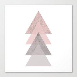 DARK BLUSH GRAY CONCRETE TRIANGLES Canvas Print