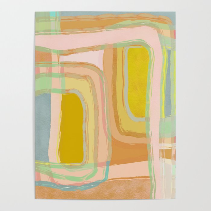 Shapes and Layers no.28 - Modern Squares and Stripes Poster