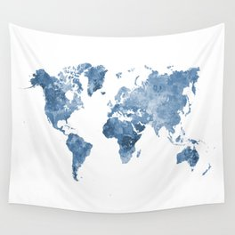 World map in watercolor blue Wall Tapestry