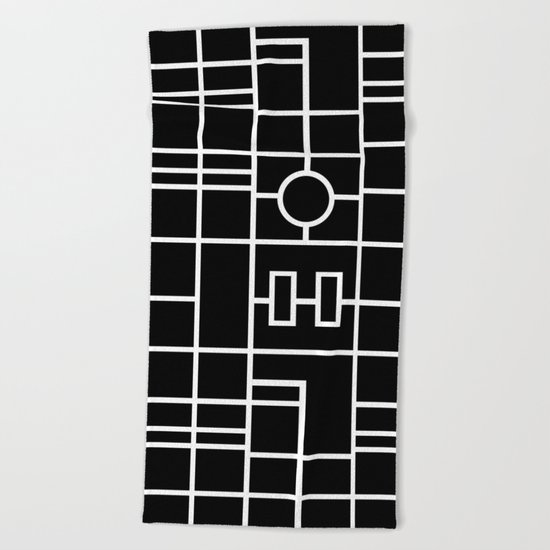 Map With Roundabout Beach Towel