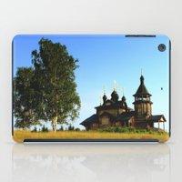 russia iPad Cases featuring Wooden Church, Merkushino, Russia by Svetlana Korneliuk