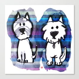 Two very serious Westies Canvas Print