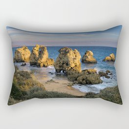 A small cove in the evening, Albufeira, Portugal Rectangular Pillow