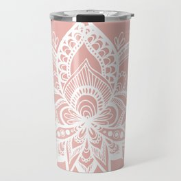 White Lotus Flower on Rose Gold Travel Mug
