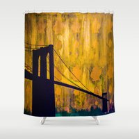 brooklyn bridge Shower Curtains featuring Brooklyn Bridge by KINGCHANCE