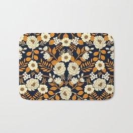 Navy Blue, Orange, Cream, Gold & White Floral Pattern Bath Mat