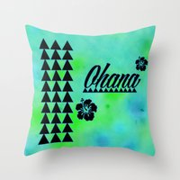 ohana Throw Pillows featuring My Ohana by Lonica Photography & Poly Designs