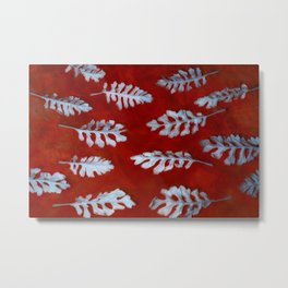 White leaves on red Metal Print