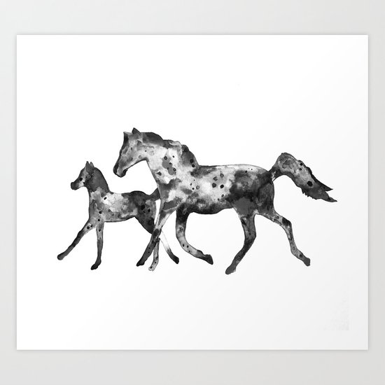Horses, black and white Art Print