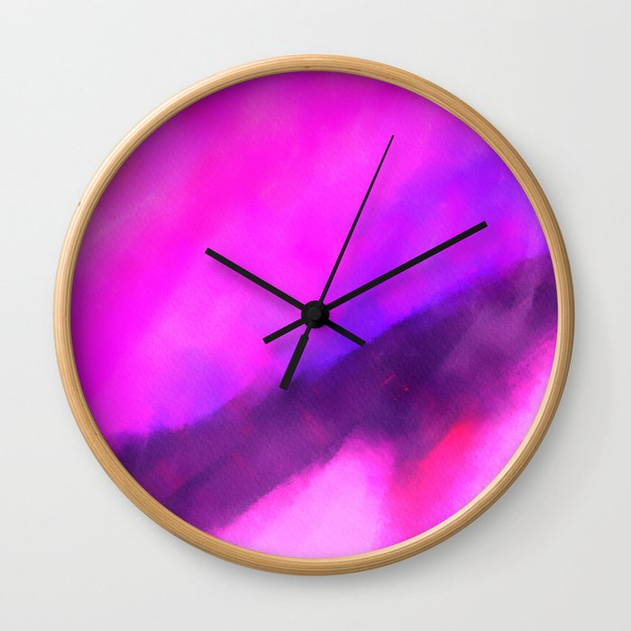 Neon Sunset Wall Clock