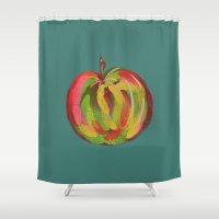 irish Shower Curtains featuring Irish Apple by Helen Magee