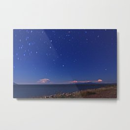 Abstract storms on the horizon and star trail. Ross River dam, Townsville. Metal Print