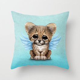 Cute Baby Cheetah Cub with Fairy Wings on Blue Throw Pillow