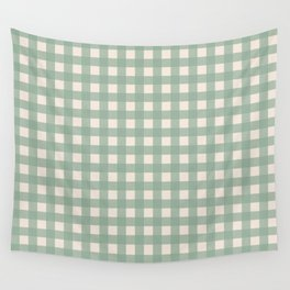 Buffalo Checks Plaid in Sage Green on Cream Wall Tapestry
