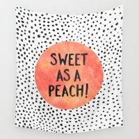 peach Wall Tapestries featuring Sweet as a peach! by Elisabeth Fredriksson