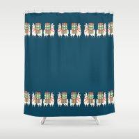 alpaca Shower Curtains featuring Tiny Alpaca by CrystalFairy