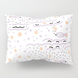 Little Lilac Fish in the Sea , Waves and Water with Tiny School of Fishes Pattern Pillow Sham