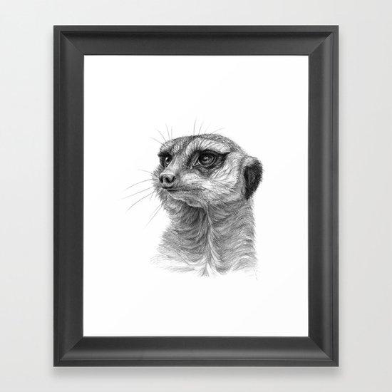 Meerkat-portrait G035 Framed Art Print