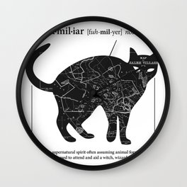 A Familiar Black Cat Wall Clock