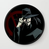 vendetta Wall Clocks featuring V for Vendetta (e1) by Ezgi Kaya