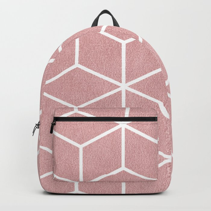 Blush Pink and White - Geometric Textured Cube Design Backpack