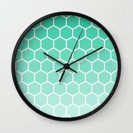 Teal gradient honey comb pattern Wall Clock