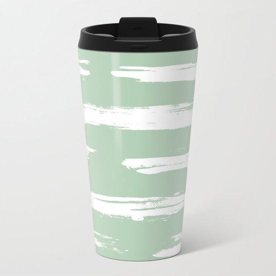Swipe Stripe White on Pastel Cactus Green Metal Travel Mug