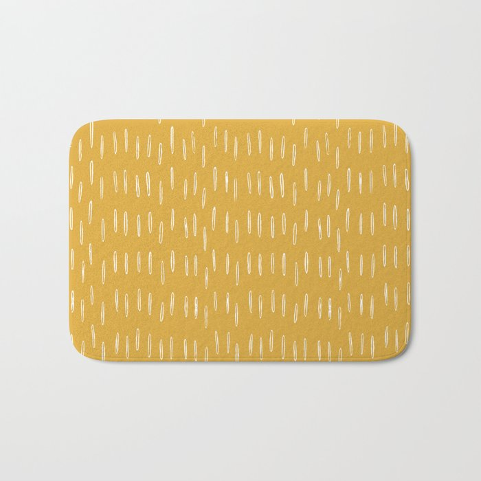 Raindrop Abstract Boho Pattern, Yellow Bath Mat